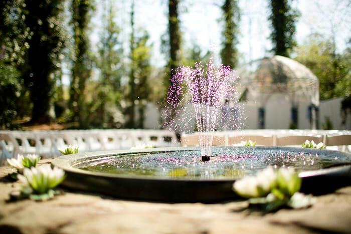 colorful outdoor water fountain at wedding venue in Marietta, GA