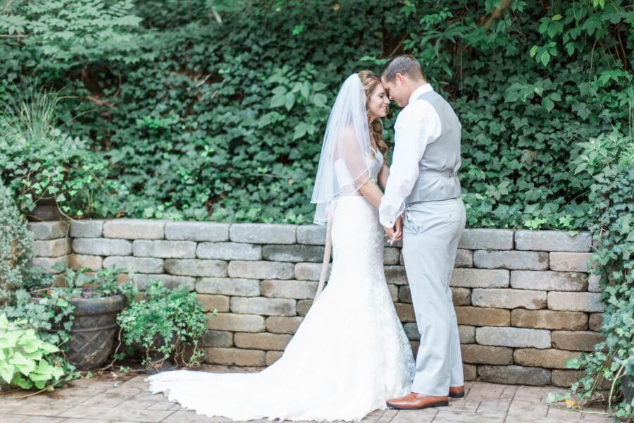 bride and groom outdoor wedding photo