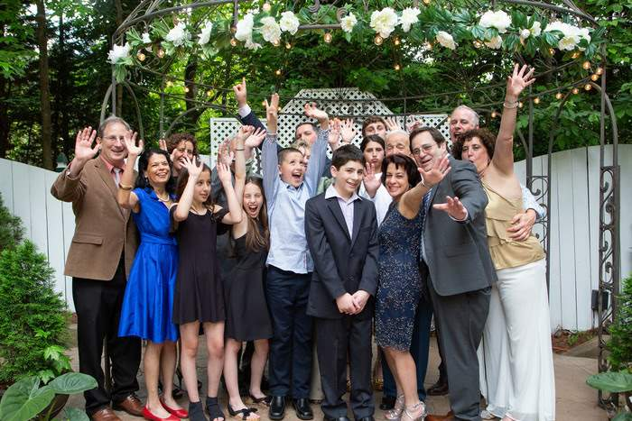 happy family photograph at outdoor mitzvah in Marietta, GA