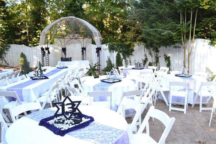 tables for outdoor mitzvah at Gala in Marietta, GA