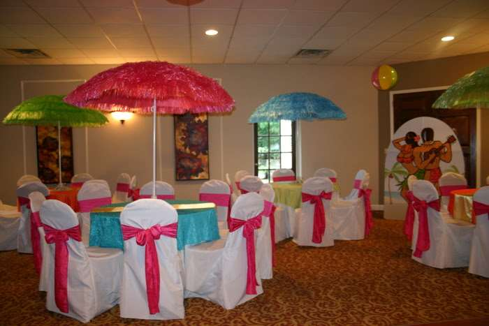 tropical themed table decor for special event at Gala in Marietta, GA