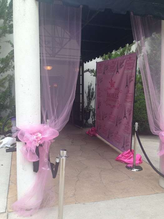pink and purple photo wall at Gala in Marietta, GA