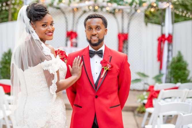 beautiful red and white outdoor wedding photo in Marietta, GA