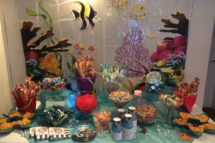 aquarium themed candy and snacks table for mitzvah