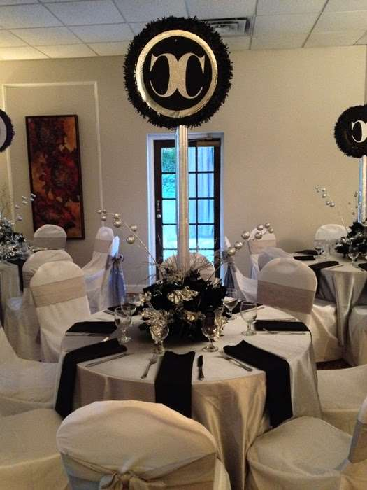 black and white table decor at mitzvah in Marietta, GA