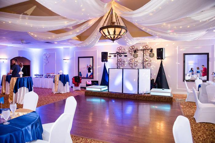 dance floor and dj booth at mitzvah in Marietta, GA