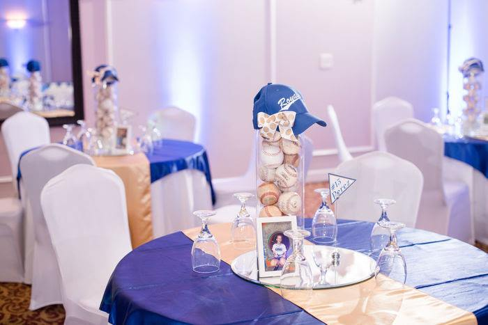 blue and white baseball themed mitzvah in Marietta, GA