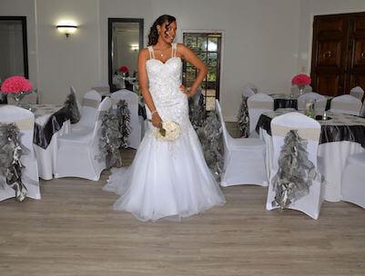 bride with bouquet at wedding venue in Marietta, GA
