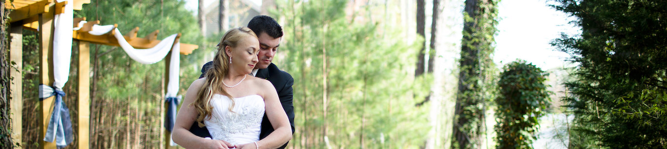 bride and groom at outdoor wedding in Marietta, GA